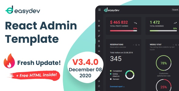 EasyDev — React Redux BS4 Admin & Dashboard Template + Seed Project - Admin Templates Site Templates