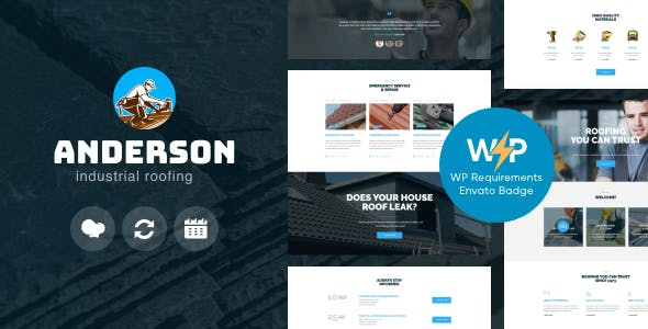 Anderson | Industrial Roofing Services Construction WordPress Theme