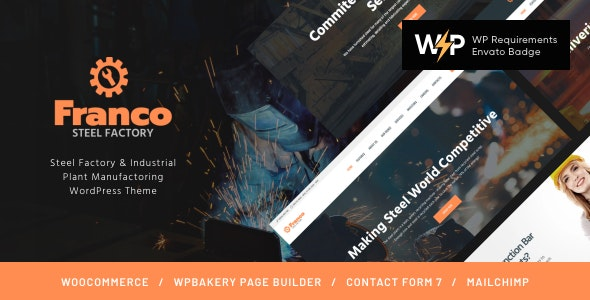 Franco   Steel Factory & Industrial Plant Manufactoring WordPress Theme - Business Corporate