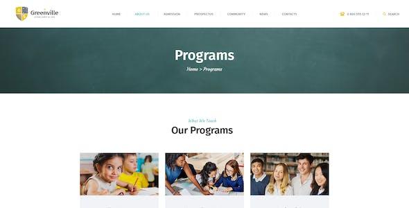 Greenville | A Private School & University Education WordPress Theme