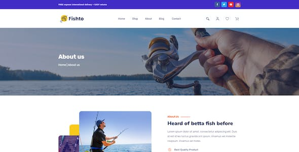 Fisto – Fishing and Hunting Hobby accessories store XD Template