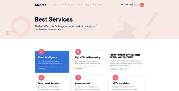 Montec - Digital Security Agency XD Template