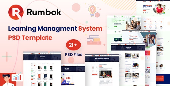 Rumbok - LMS Online Education Course PSD Template - Creative Photoshop
