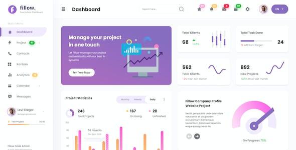 Fillow - Saas Admin Dashboard UI Template Figma