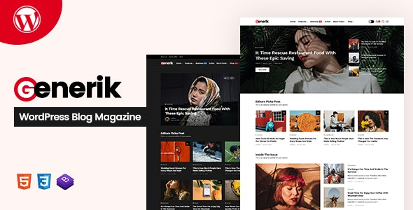 Generik - Multipurpose WordPress Blog Magazine Theme - News / Editorial Blog / Magazine