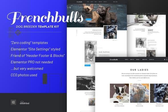 Frenchbulls - Dog Breeder Elementor Template Kit - Business & Services Elementor