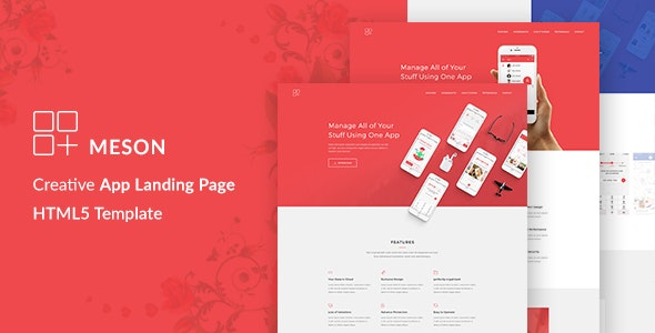 Meson - App Landing Page with Blog - Technology Site Templates