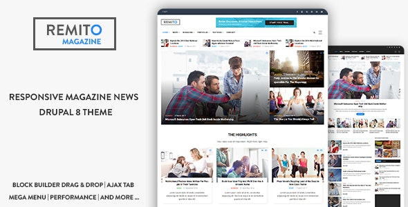 Remito - Responsive Magazine News Drupal 9 Theme - News / Editorial Blog / Magazine