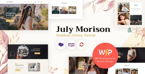 July Morison   An Alluring Event Photographer's Portfolio & Blog WordPress Theme - Photography Creative