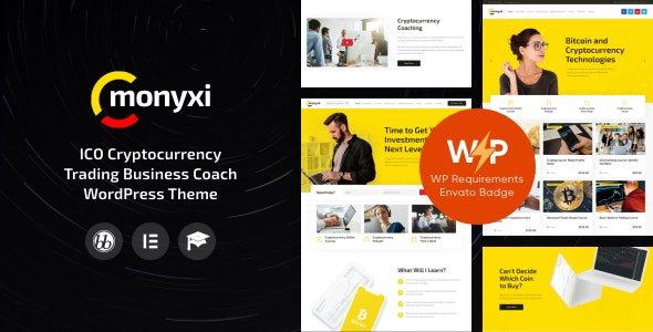 Monyxi | ICO Cryptocurrency Trading Business Coach WordPress Theme - Business Corporate