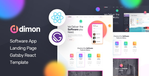 Dimon - Gatsby React App Landing Page Template - Technology Site Templates