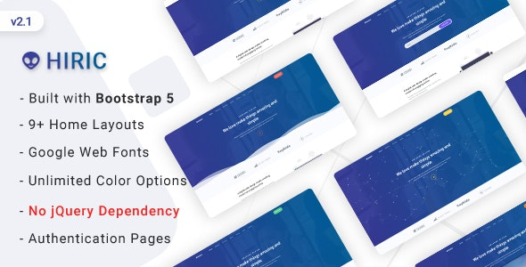 Hiric - Bootstrap 5 Landing Page Template - Technology Site Templates