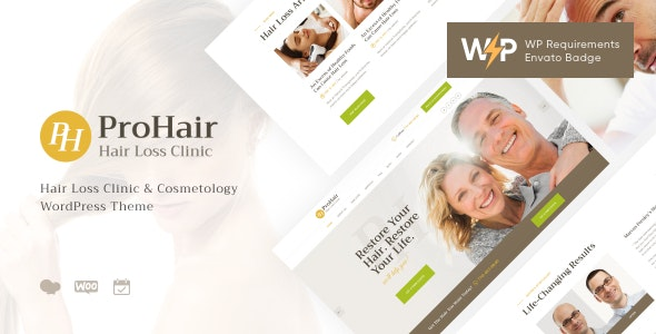 ProHair | Hair Loss Clinic & Cosmetology WordPress Theme - Health & Beauty Retail