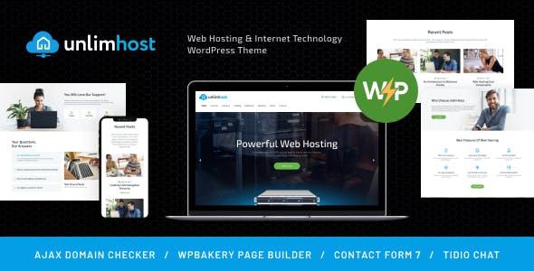 UnlimHost - Web Hosting & Internet Technology WordPress Theme