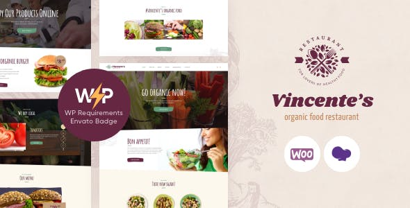 Vincente's | Organic Food Restaurant & Eco Cafe WordPress Theme