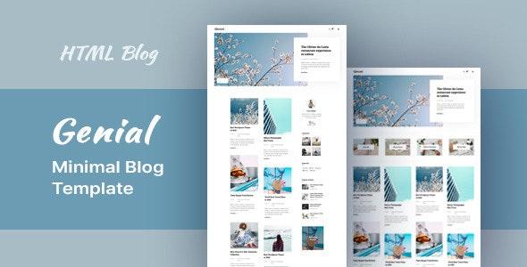 Genial - Minimal Blog HTML Template - Miscellaneous Site Templates
