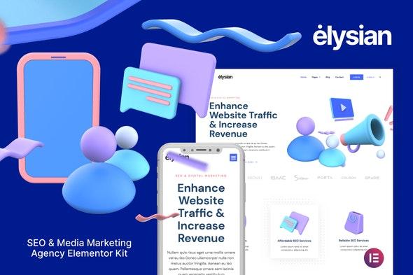 Elysian – 3D Style SEO Agency Elementor Kit - Business & Services Elementor