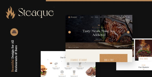 Steaque | Steak House and Coctail Bar Joomla Template - Food Retail