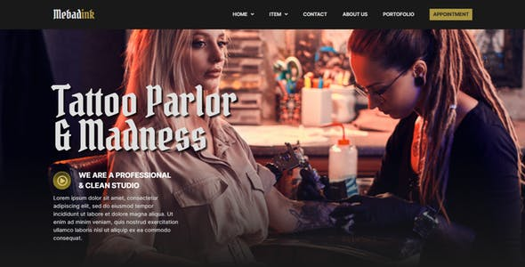 Mebadink - Tattoo & Piercing Studio Elementor Template Kit