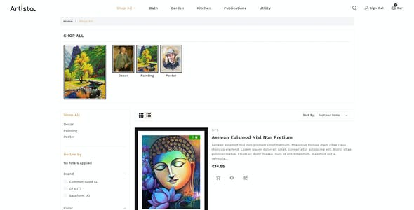 Artista - Stencil BigCommerce Art Gallery Template