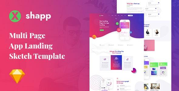 Xshapp - Multipage App Landing Sketch Template - Software Technology