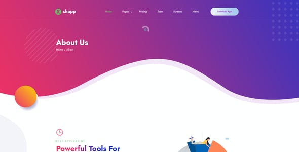Xshapp - Multipage App Landing Sketch Template