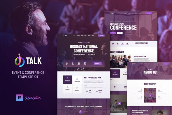 iTalk – Event & Conference Elementor Template Kit - Events & Entertainment Elementor
