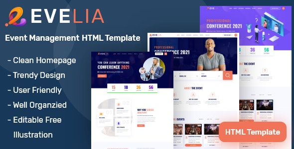 Evelia- Event & Conference Management HTML Template - Events Entertainment