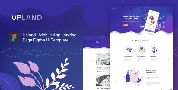 Upland - Mobile App Landing Page Figma UI Template - Technology Figma
