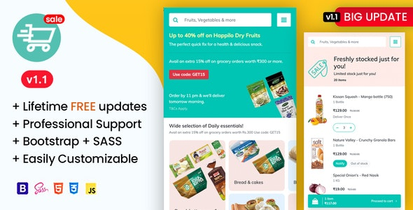 Soprdaily - Organic Food & Grocery Market Mobile Template - Mobile Site Templates