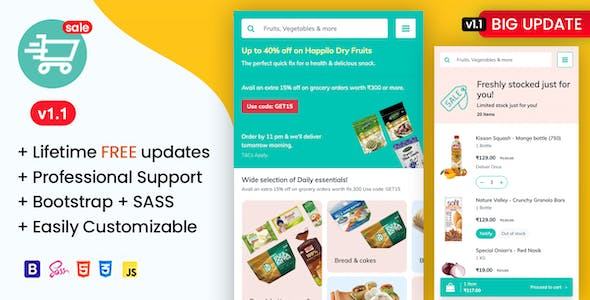 Soprdaily - Organic Food & Grocery Market Mobile Template