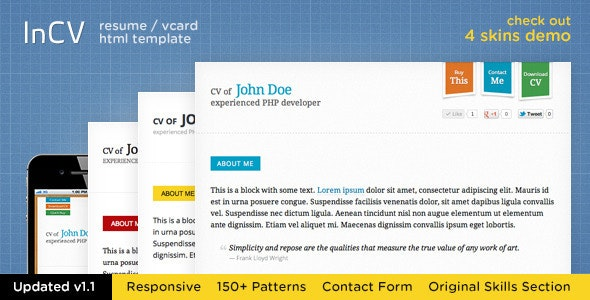 Responsive CV / Resume HTML5 Template (+3 skins) - Resume / CV Specialty Pages