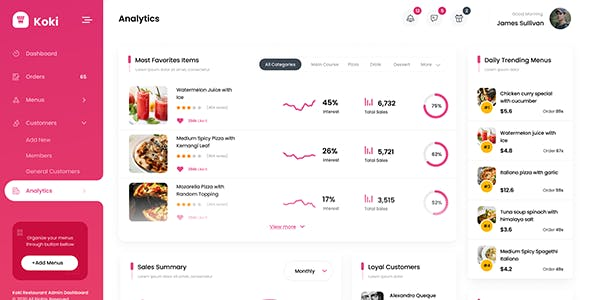 Koki - Restaurant Food React Admin Dashboard Template