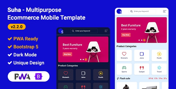 Suha - Multipurpose Ecommerce Mobile HTML Template - Mobile Site Templates