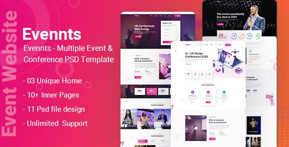 Evennts-Conference and Event PSD Template