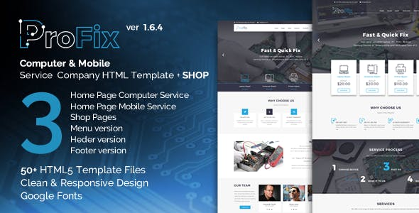 ProFix - Computer & Mobile Phone Repair Service Company + Shop HTML5 Template