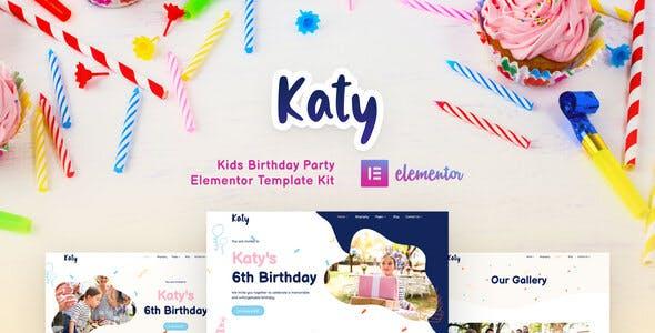 Katy - Kids Birthday Party Planner & Invitation Elementor Template Kit for WordPress
