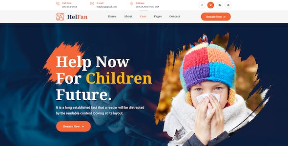 HelFan - Charity and Nonprofit PSD Template