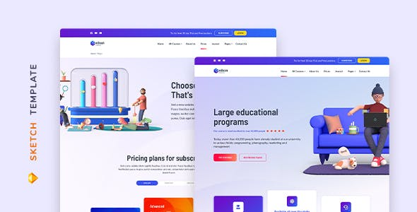 Edison – Online Education Template for Sketch