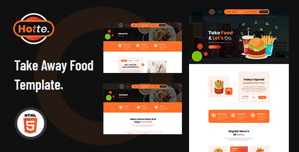 Hotte - Take Away Food HTML5 Template - Restaurants & Cafes Entertainment