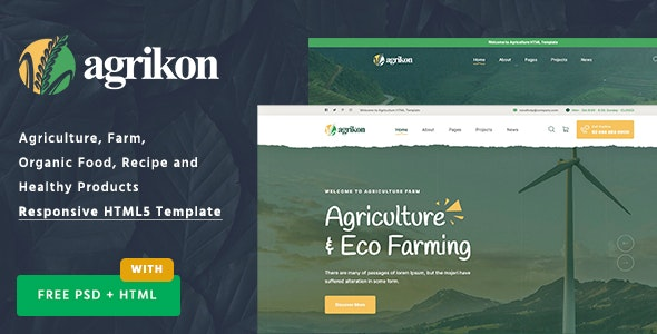 Agrikon - HTML Template For Agriculture Farm & Farmers - Food Retail