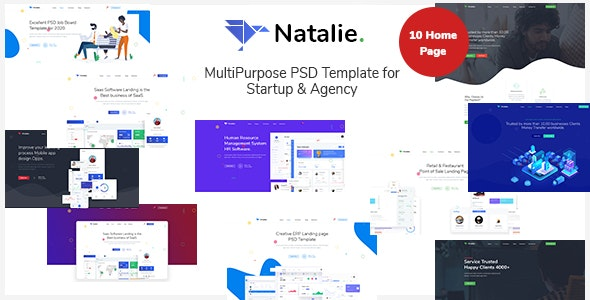 Natalie - MultiPurpose PSD Template for Startup & Agency - Technology Photoshop
