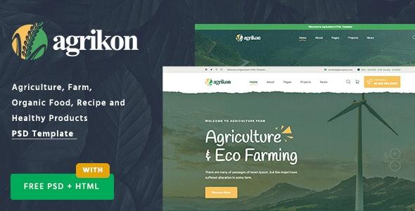 Agrikon - PSD Template For Agriculture Farm & Farmers - Food Retail