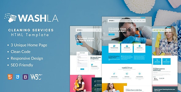 Washla - Cleaning Services HTML Template - Business Corporate