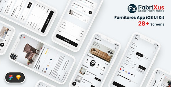 FabriXus - Furniture eCommerce Mobile App UI - Retail Sketch