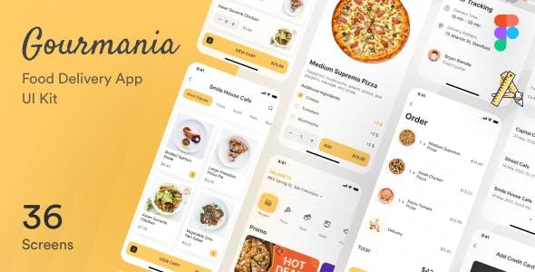 Gourmania – Food Delivery App UI Kit Figma Template