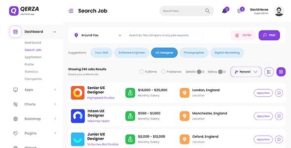 Qerza - Job Portal Laravel Admin Dashboard Template