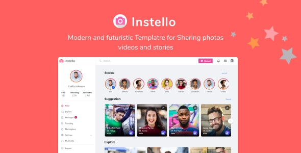 Instello Ultimate Photo Sharing HTML Template - Entertainment Site Templates