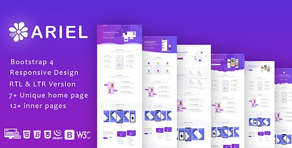Ariel - App Landing Page Template + RTL - Software Technology