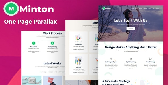 Minton - One Page Parallax Template - Technology Site Templates
